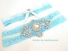 Aqua blue lace #wedding #garter set embellished with a crystal rhinestone applique,   This garter will definitely work with a straight sheath wedding dress because it is basi... #bride #bridal #weddings #ido #bridalgarter #weddinggarterbelt ➡️ http://jto.li/PPsa3