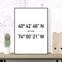 New York Coordinates, Typography Travel Poster, Printable Art, City Prints, Scandinavian Design, Modern Wall Art, Minimalist, Black & White