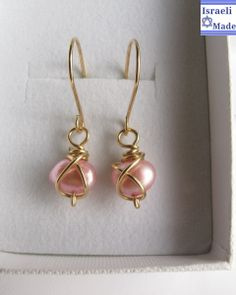 Gold filled and pink pearls - IsraeliMade