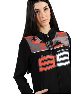 Hoody inspired by the new Jorge Lorenzo style. Women's black sweatshirt with adjustable hood, featuring a zip opening and camouflage details on the top part.
