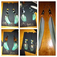 Parrot feather earrings