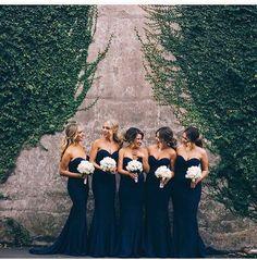 Navy Blue Dress | White Bouquet | Bridesmaids