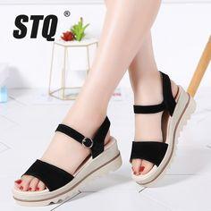 c52450d82ca6d6 Women summer shoes 2018 sandals platform wedges thick heel flat sandals  suede leather sandals ladies platform sandals 575