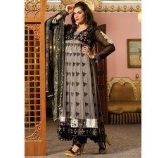 £69 + Free DeliveryI LUV Designer - Pure Chiffon Stylish 3 Piece Grey Color Dress Pakistani Stitched Suit by Strawberry - Latest Pakistani Fashion http://www.iluvdesigner.com