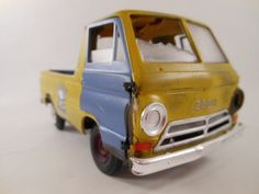 early sixties dodge pickup truck in yellow 1/24 scale model car via Etsy