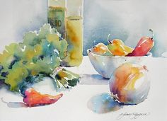 Still Life with Parsley by Yvonne Joyner Watercolor ~ 16 in. x 20 in.