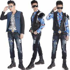 Men Navy Blue Faded Boot Cut Punk Rock Emo Fashion Jeans Clothing SKU-11404285