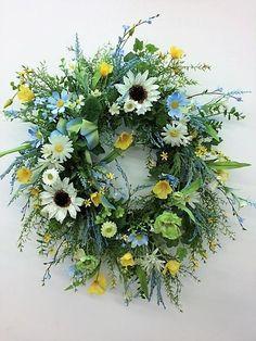 Blue, Green and Ceam Sunflower Silk Floral Spring Wreath/Eng 134 - Moderne Ideen Spring Front Door Wreaths, Holiday Wreaths, Spring Wreaths, Artificial Floral Arrangements, Flower Arrangements, Green Front Doors, Memorial Flowers, Faux Flowers, Summer Wreath