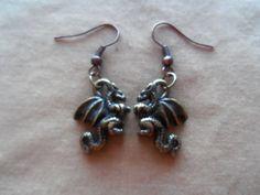Mini Dragon  Pewter Earrings by SisterCraftings on Etsy