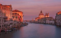 Download wallpapers Venice, Santa Maria della Salute, cathedral, evening, sunset, boat, Italy