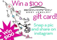 Do you like FREE JEWELERY? Do you photograph well? I bet you do! Enter now to win $ 100 Shopping Spree and Internet Stardom from www.bodycandy.com  #piercing #contest #instagram #bodycandy Enter Here: https://apps.facebook.com/bodycandyphoto/pages/1133aedf1639a89e