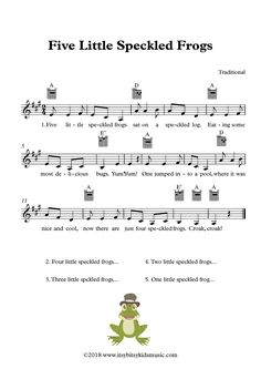 Five Little Speckled Frogs Sheet Music With Chords And Lyrics Kindergarten Songs, Preschool Music, Music Activities, Toddler Activities, Elementary Music Lessons, Piano Lessons, Elementary Schools, Ukulele Songs, Music Songs