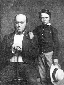 Henry James at age eleven years old with his father, Henry James, Sr. in 1854