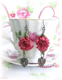 Satin Cabbage Rose Earrings Dangles Heart Charms Vintage Style Shabby Chic Bridal Wedding Spring Summer