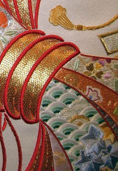 Goldwork on Noshii work...I have a wonderful friend who does Japanese embroidery...how she has the patience is beyond me...but Gerda's work is fabulous.