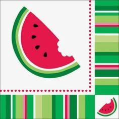 Watermelon Stripe Luncheon Napkins . $6.99