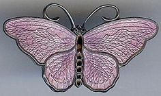 HANS-MYHRE-NORWAY-VINTAGE-STERLING-SILVER-LAVENDER-PURPLE-ENAMEL-BUTTERFLY-PIN