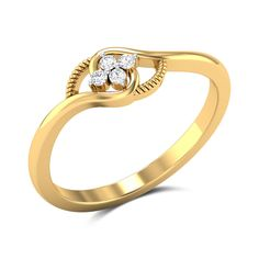 This ring in and gold is styled with an elegant motif and is studded with four shimmering diamonds at the centre. Finished with a smooth polish, this ring will highlight your natural beau Sterling Silver Diamond Rings, Gold Rings Jewelry, Silver Diamonds, Diamond Studs, Diamond Jewelry, Gold Jewellery, Women's Rings, Designer Jewellery, Jewellery Designs