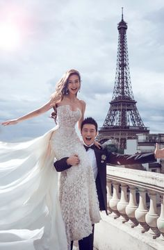 Angelababy's Wedding of the Year // Angelababy in an Elie Saab Couture wedding gown at Shangri-la Hotel, Paris . Paris Wedding, Luxury Wedding, Dream Wedding, Wedding Photoshoot, Wedding Pics, Wedding Ideas, Wedding Beach, Wedding Quotes, Wedding Album