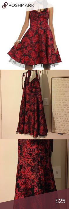 RED & BLACK FLORAL HALTER SWING DRESS Very flattering halter dress. Worn once. No defects Hot Topic Dresses Prom