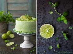 Bardzo orzeźwiający i wiosenny tort Mojito. Przygotowany na zielonym biszkopcie z dodatkiem herbaty matcha. Biszkopty zostały nasączone intensywnie limonkowym syropem i przełożone lekkim, puszystym angielskim kremem miętowym. Mojito, Matcha, Pudding, Baron, Desserts, Birthday Cakes, Cakes, Tailgate Desserts, Anniversary Cakes