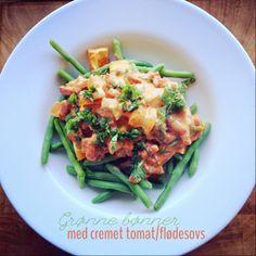Madzvin : Grønne bønner med cremet tomat/flødesovs