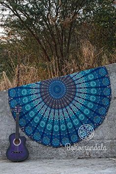 Bohomandala- Blue Indian Peacock Feather Theme Mandala Round Roundie Beach Throw Tapestry Hippy Boho Gypsy Cotton *** Check out the image by visiting the link. (This is an affiliate link)