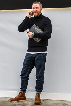 Men'S fashion › fashion for 30 year old men men's black turtleneck, white crew-neck t-shirt, navy jeans, tobacco Look Fashion, Winter Fashion, Fashion Outfits, Stylish Men, Men Casual, Look Jean, Style Masculin, Red Wing Boots, Mens Boots Fashion