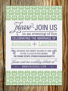 "Floral Pattern Typographic Wedding Invitation DIY Printable - ""Antonia""  By Erica Paoli"