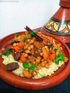 Gourmettatze: ~Lamm-Tajine mit getrockneten Aprikosen und Datteln~