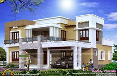 Right side of 2800 Square Feet (260 Square Meter) (311 Square Yards) modern house exteriors. Designed by X Trude Design, Kasaragod, Kerala. | 5 bedrooms ♣ | http://www.keralahousedesigns.com/2015/02/different-views-of-2800-sq-ft-modern.html