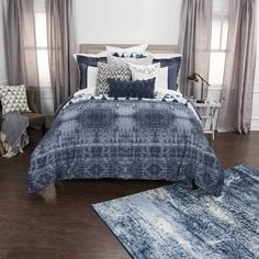 Rizzy Winston Willow Indigo Bedding – Incredible Rugs and Decor Blue And Grey Bedding, Blue Bedding Sets, Queen Bedding Sets, Queen Duvet, King Duvet Cover Sets, Duvet Sets, Duvet Covers, Rustic Bedding, Rustic Comforter Sets