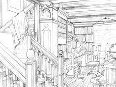 Inexpensive Home Decorating Ideas Environment Sketch, Environment Design, Background Drawing, Animation Background, Croquis Architecture, Art Sketches, Art Drawings, Bg Design, Perspective Drawing