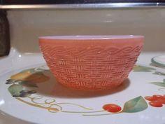Fire King - Pink Basket Weave Bowl