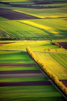 'Spring fields' by Boris Michalicek. I love the gorgeous yellow and green fields Aerial Photography, Landscape Photography, Nature Photography, Beautiful World, Beautiful Places, Beautiful Pictures, Beautiful Farm, Simply Beautiful, Tulip Fields