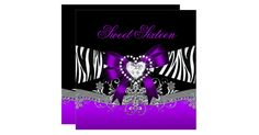 Sweet Sixteen 16 Birthday Party Zebra Purple Black Diamond Jewel Bow Invite Birthday Party Elegant. Zizzago