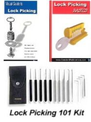 Lock Picking 101 Kit - (International Version) Save $$$!  This is one of the most valuable instructional courses available! We've taken one of our Best-Selling instructional books, A newly released, comprehensive Lock picking DVD course and our complete 15 piece slim line lock pick set, and combined it into a complete lock picking training course