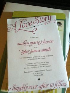 sweet boy meets girl love story invitation. Aw.
