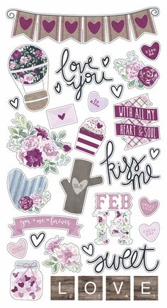 Simple Stories > Love & Adore > Chipboard Stickers - Kissing Booth - Simple Stories: A Cherry On Top Printable Planner Stickers, Journal Stickers, Scrapbook Stickers, Scrapbook Paper, Homemade Stickers, Diy Stickers, Kissing Booth, Tumblr Stickers, Bullet Journal Ideas Pages