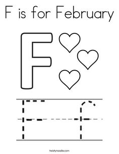 F is for February with tracing font coloring page that you can customize and print for kids. Homeschool Kindergarten, Preschool At Home, Preschool Learning, Preschool Activities, Teaching Kids, Homeschooling, Valentine Activities, School Worksheets, Tot School