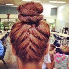 Perfect for travel Upside Down French Braid, French Braid Buns, Fishtail Bun, Bun Updo, Bun Braid, French Bun, Head Braid, Girl Hairstyles, Pretty Hairstyles