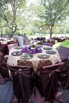 Purple, gold and brown color scheme for fall wedding