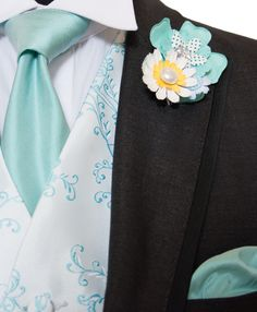 Mint Blue Vine Embroidered Silk Waistcoat with our Charcoal Grey Herringbone Morning Suit