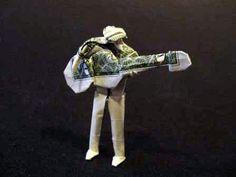 Guitar Man Money Origami