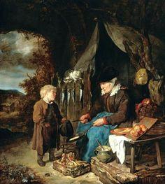 Gabriel Metsu An Old Woman Baking Pancakes, with a Boy. Gabriel Metsu, Gerrit Dou, Pancake Art, Dutch Golden Age, Dutch Painters, Reproduction, Vintage Artwork, Norman Rockwell, Satyr