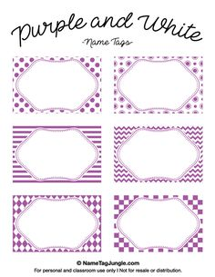 Free printable purple and white name tags featuring chevrons, stripes, and other patterns. The template can also be used for creating items like labels and place cards. Download the PDF at http://nametagjungle.com/name-tag/purple-and-white/