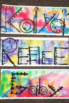 Name Prints. Background - wet-on-wet watercolor. Printmaking - stamping with found objects using printing ink. 5th & 6th grades.