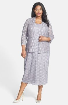 Alex Evenings Sequin Lace Tea Length Dress & Jacket (Plus Size) available at…