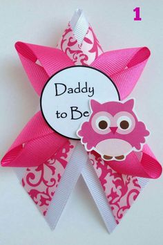 Owl It's a Girl Matching smaller Pink Baby Shower Corsage by DiAtn