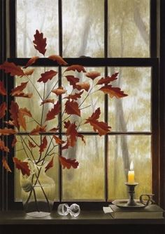 window view of fall Autumn Day, Autumn Leaves, Autumn Morning, Red Leaves, Deco Nature, Looking Out The Window, Window View, Through The Window, Windows And Doors